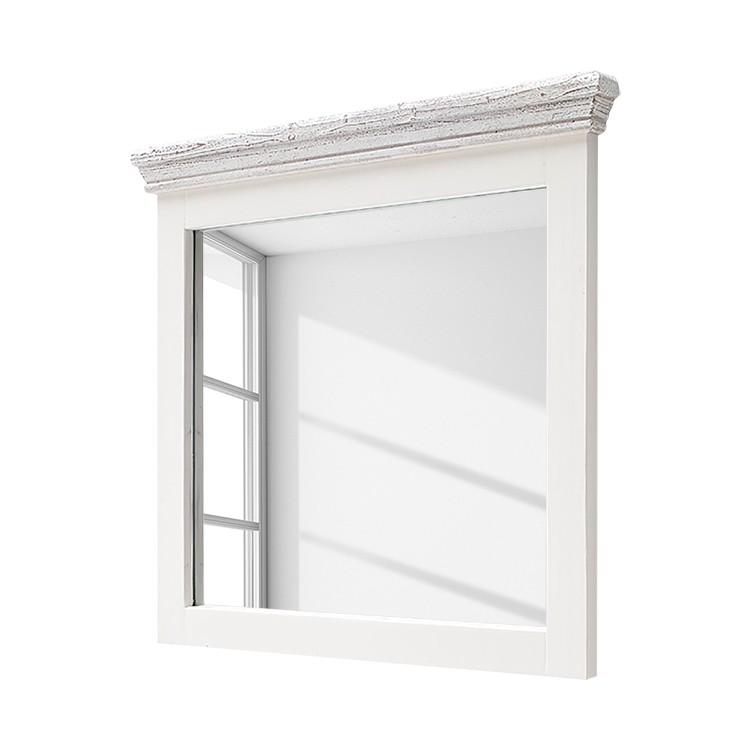 Garderobenspiegel Opia II - Kiefer massiv - Weiß/Weiß Vintage, Landhaus Classic