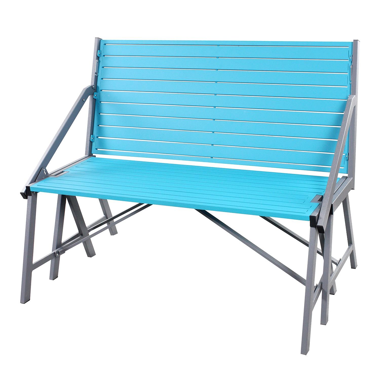 Gartenbank FlipFlop - Stahl - Anthrazit / Blau, Siena Garden
