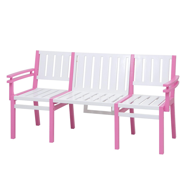 Gartenbank Seatlle - Akazie massiv - Weiß / Pink, Siena My Balconia
