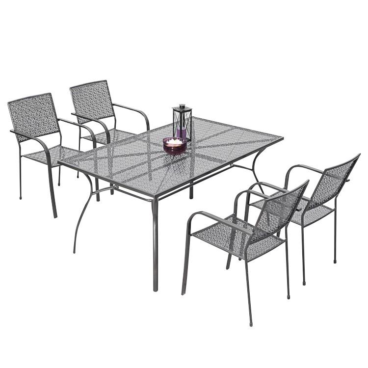 Gartenessgruppe Argos (5-teilig) - Stahl, Merxx