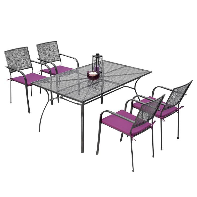 Gartenessgruppe Argos (9-teilig) - Stahl, Merxx