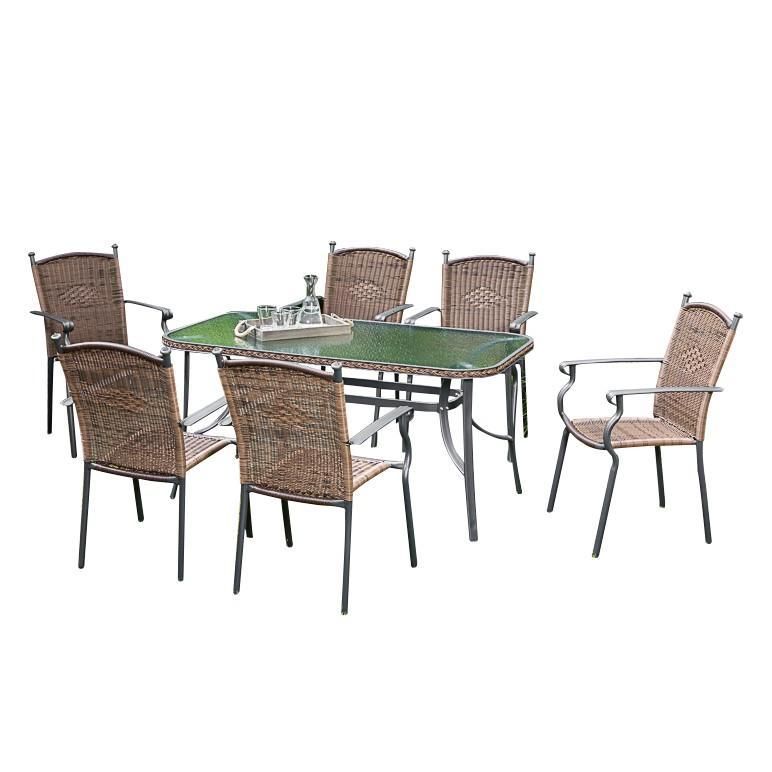 Gartenessgruppe Roma I (7-teilig) - Aluminium / Polyrattan, Merxx