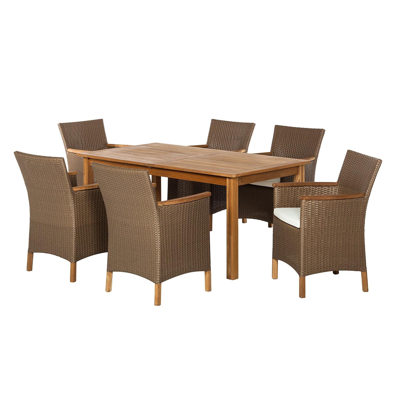 table de jardin ronde en teck avec plateau tournant. Black Bedroom Furniture Sets. Home Design Ideas