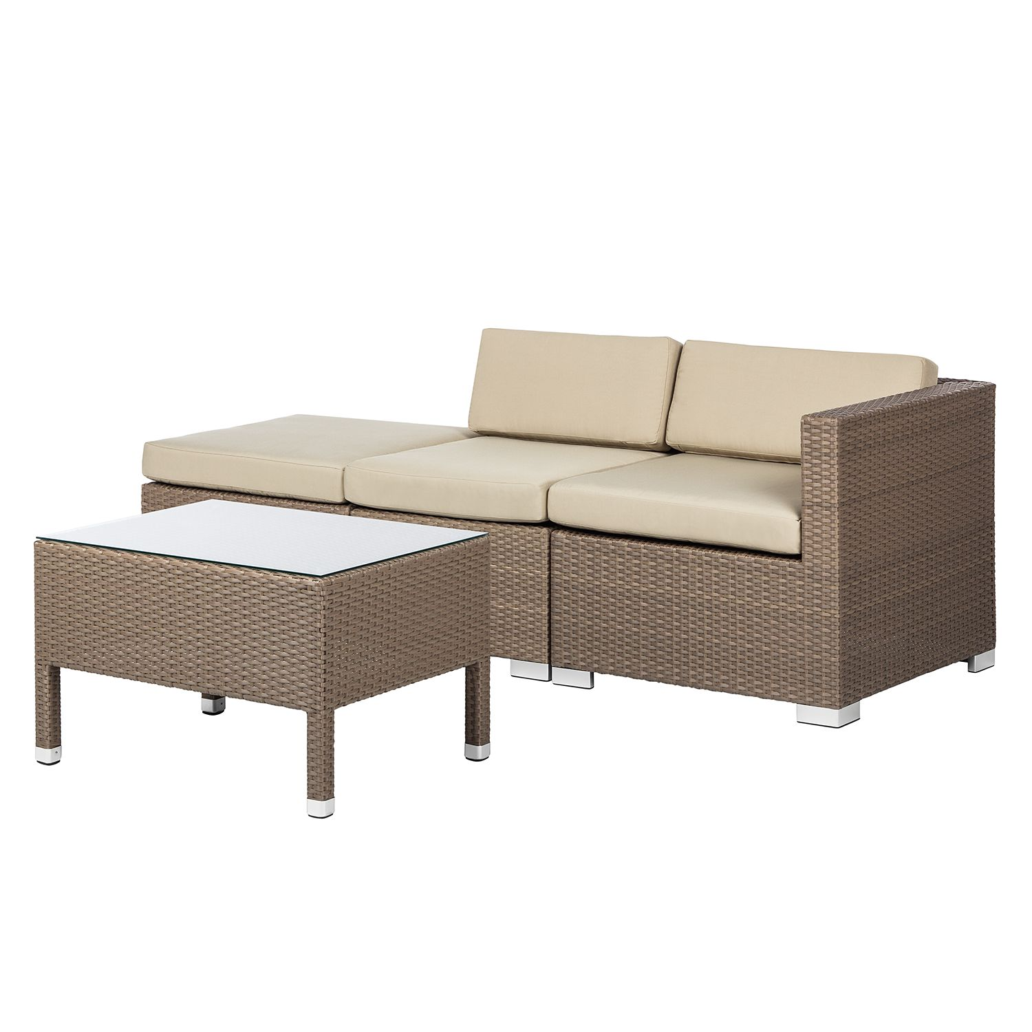 gartengruppe facil i 4 teilig polyrattan cappuccino kings garden jetzt bestellen. Black Bedroom Furniture Sets. Home Design Ideas