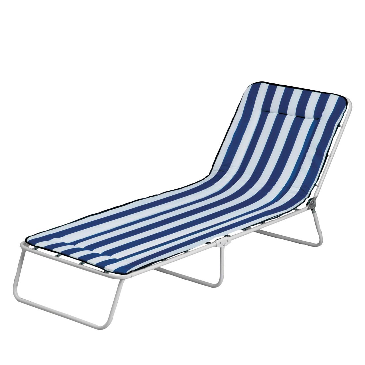 Gartenliege Chiemsee 3-Bein (inkl. Polsterauflage) - Stahlrohr/Textil - Weiß/Blau-Weiß gestreift, Best Freizeitmöbel
