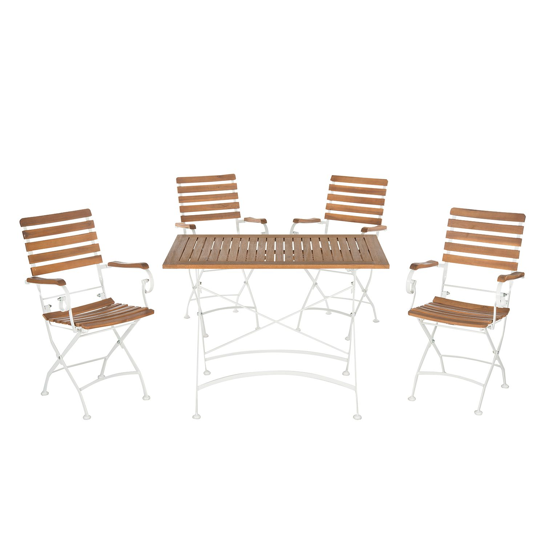 Gartenmöbelset Lawndale (5-teilig) - Stahl / Akazie massiv, Safavieh