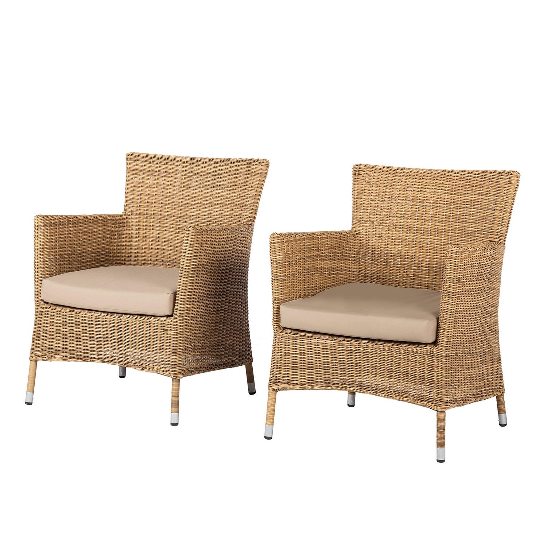 gartensessel calla millor 2er set lloyd loom geflecht braun beige ebay. Black Bedroom Furniture Sets. Home Design Ideas