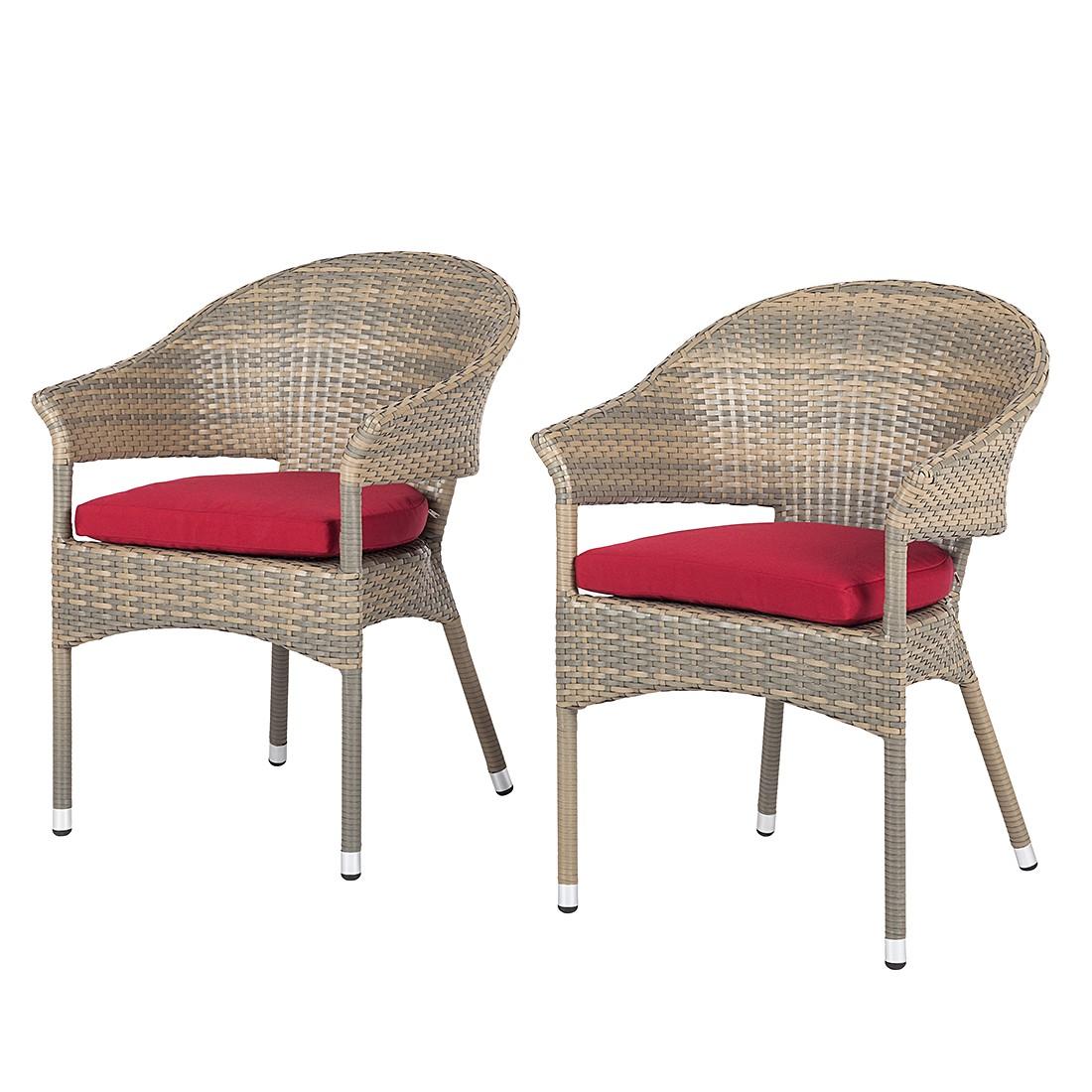 gartensessel felice 2er set polyrattan anthrazit rot ebay. Black Bedroom Furniture Sets. Home Design Ideas
