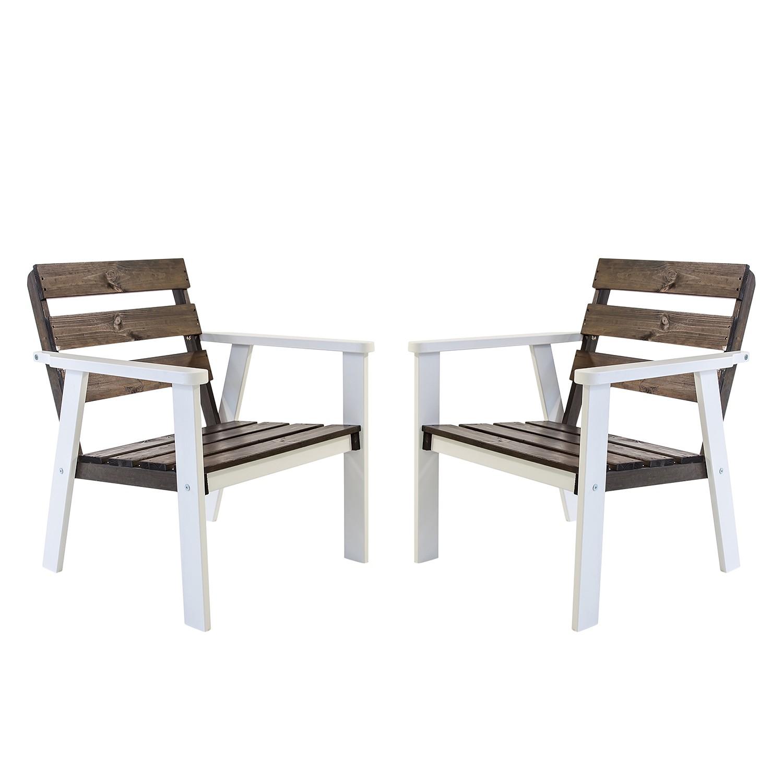 Gartensessel Hanko (2er-Set) - Kiefer massiv - Weiß / Taupegrau, Gardenho.me
