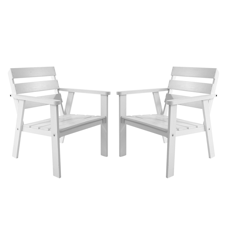 Gartensessel Hanko (2er-Set) - Kiefer massiv - Weiß, Gardenho.me
