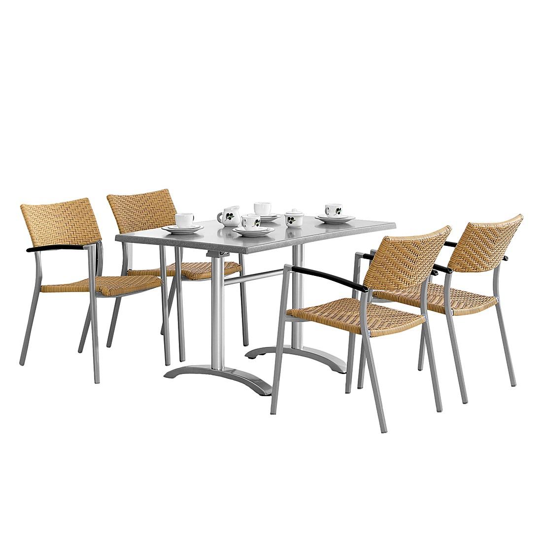 Gartensitzgruppe Albany (5-teilig) - Aluminium/Werzalit, Best Freizeitmöbel