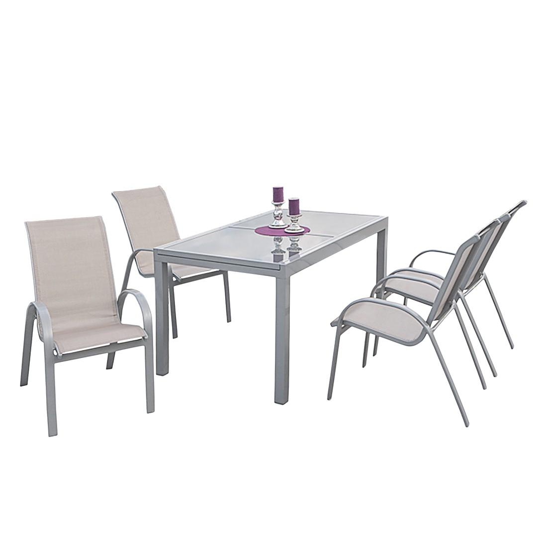 Gartensitzgruppe Amalfi I (5-teilig) – Aluminuim Silber/Kunstfasergewebe Champagner, Merxx günstig bestellen