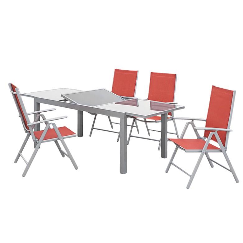 Gartensitzgruppe Amalfi X (5-teilig) - Aluminium Silber/Kunstfasergewebe Terracotta, Merxx