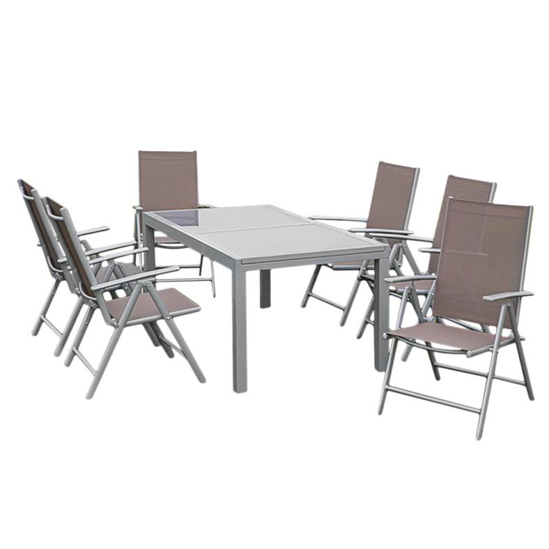 Gartensitzgruppe Amalfi XII (7-teilig) – Aluminium Silber/Kunstfasergewebe Taupe, Merxx jetzt kaufen