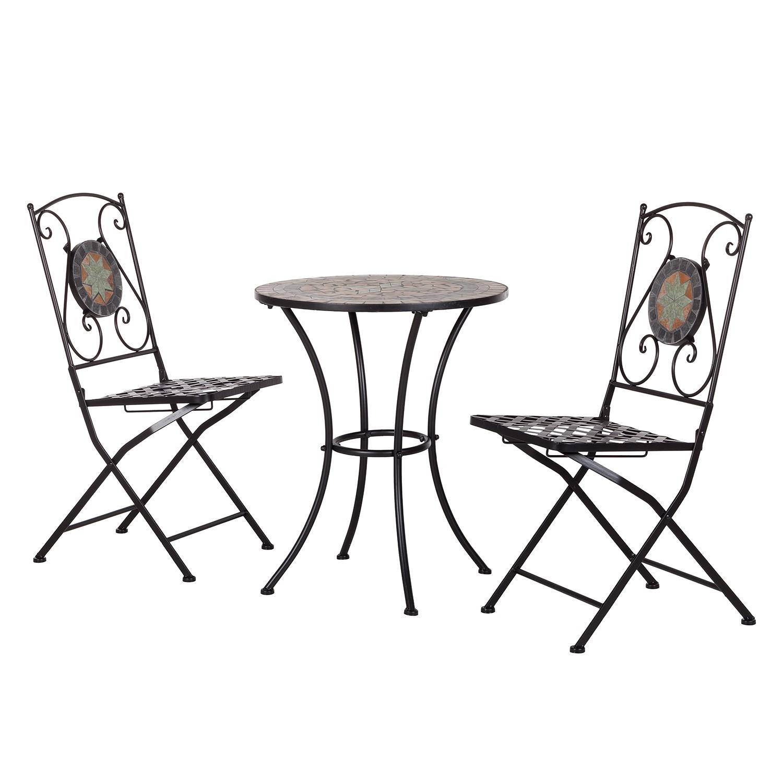 Gartensitzgruppe Aurelia I (3-teilig) - Metall / Keramik, Kings Garden