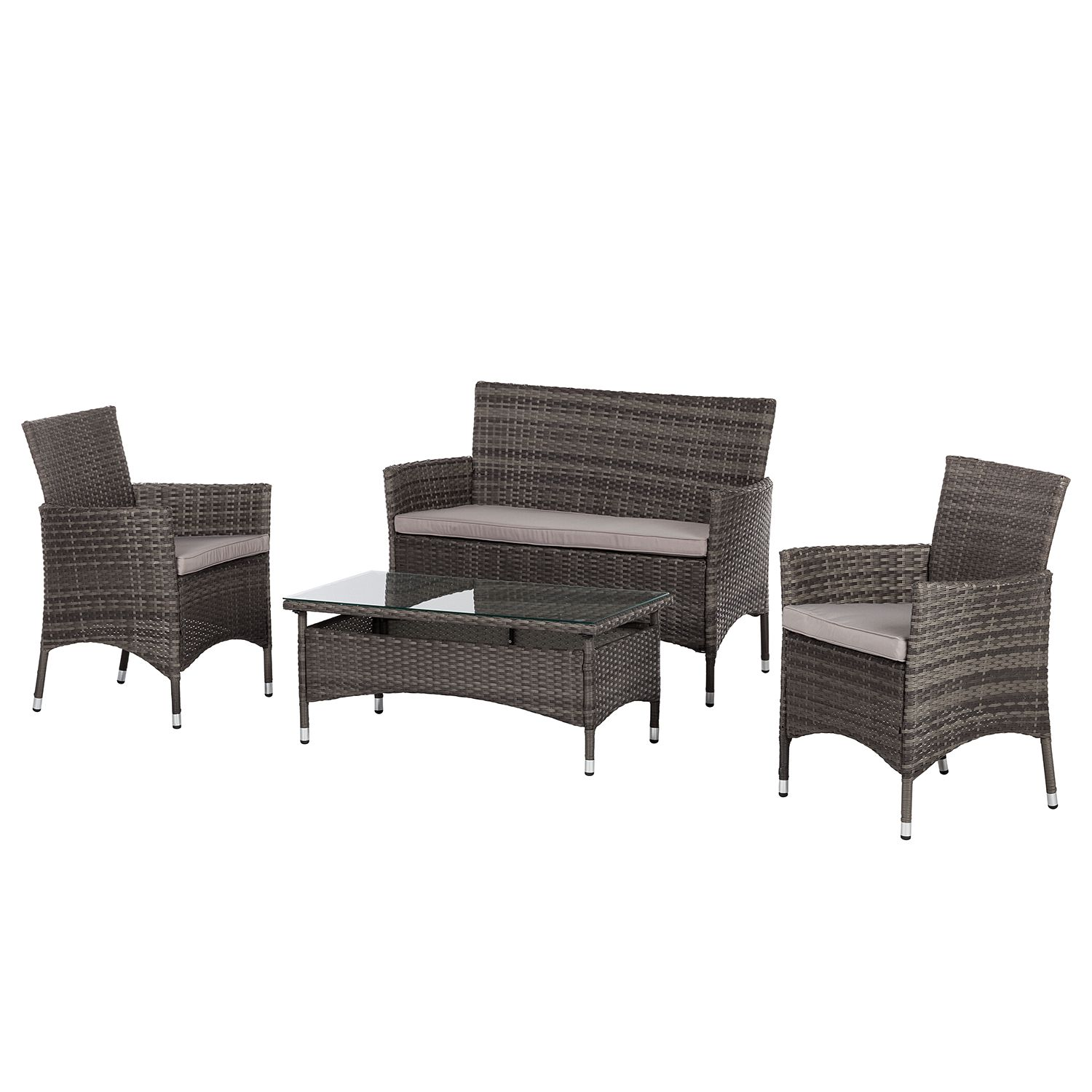 gartensitzgruppe bellariva 4 teilig polyrattan grau kings garden jetzt kaufen. Black Bedroom Furniture Sets. Home Design Ideas