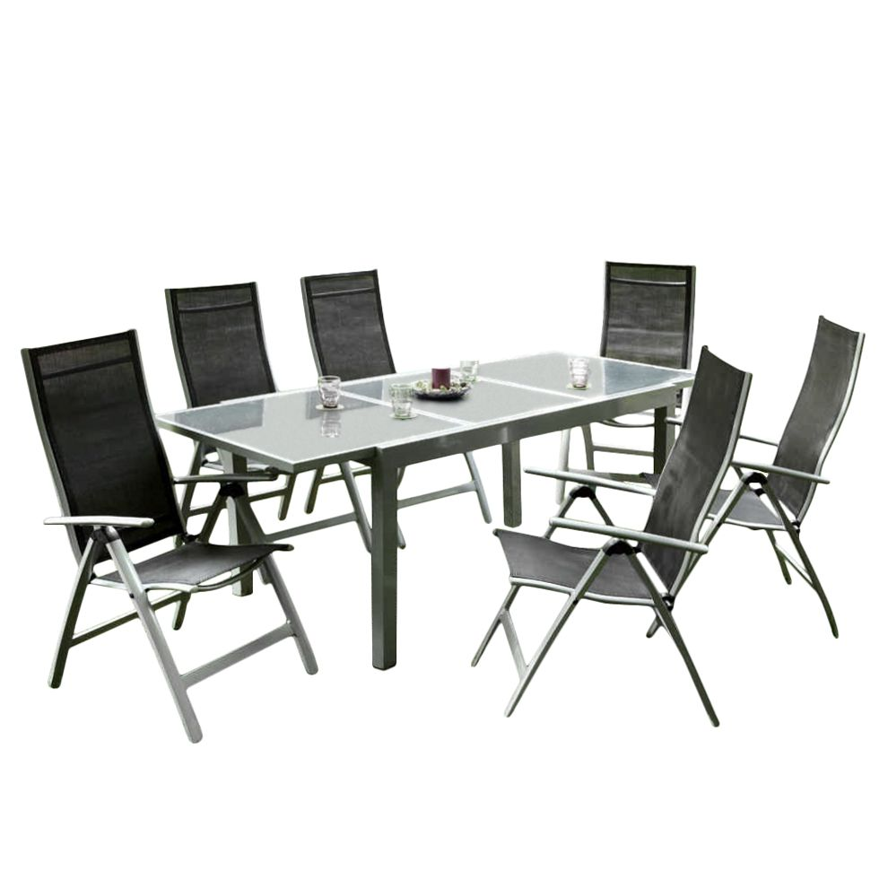Gartensitzgruppe Carrara (7-teilig) – Aluminium/Kunstfasergewebe – Silber/Schwarz, Merxx günstig kaufen
