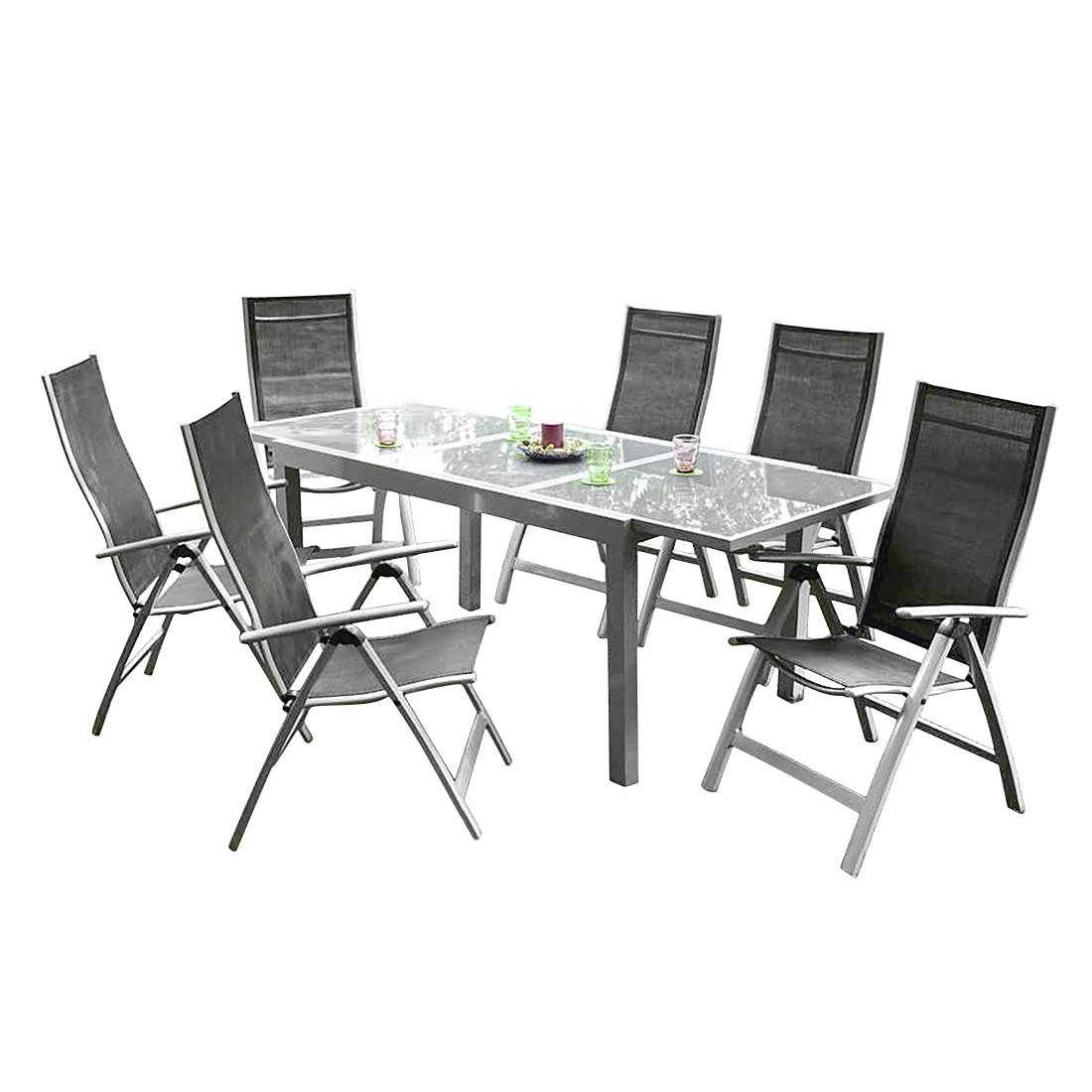 Gartensitzgruppe Carrara I (7-teilig) – Aluminium Silber/Kunstfasergewebe Schwarz, Merxx online kaufen