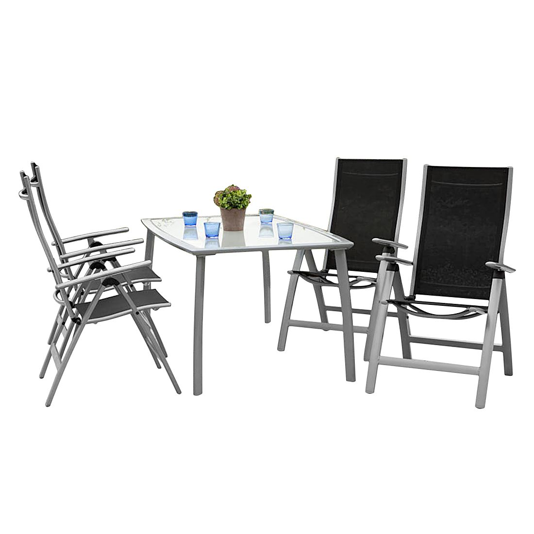 Gartenessgruppe Carrara IV (5-teilig) - Aluminium - Schwarz, Merxx