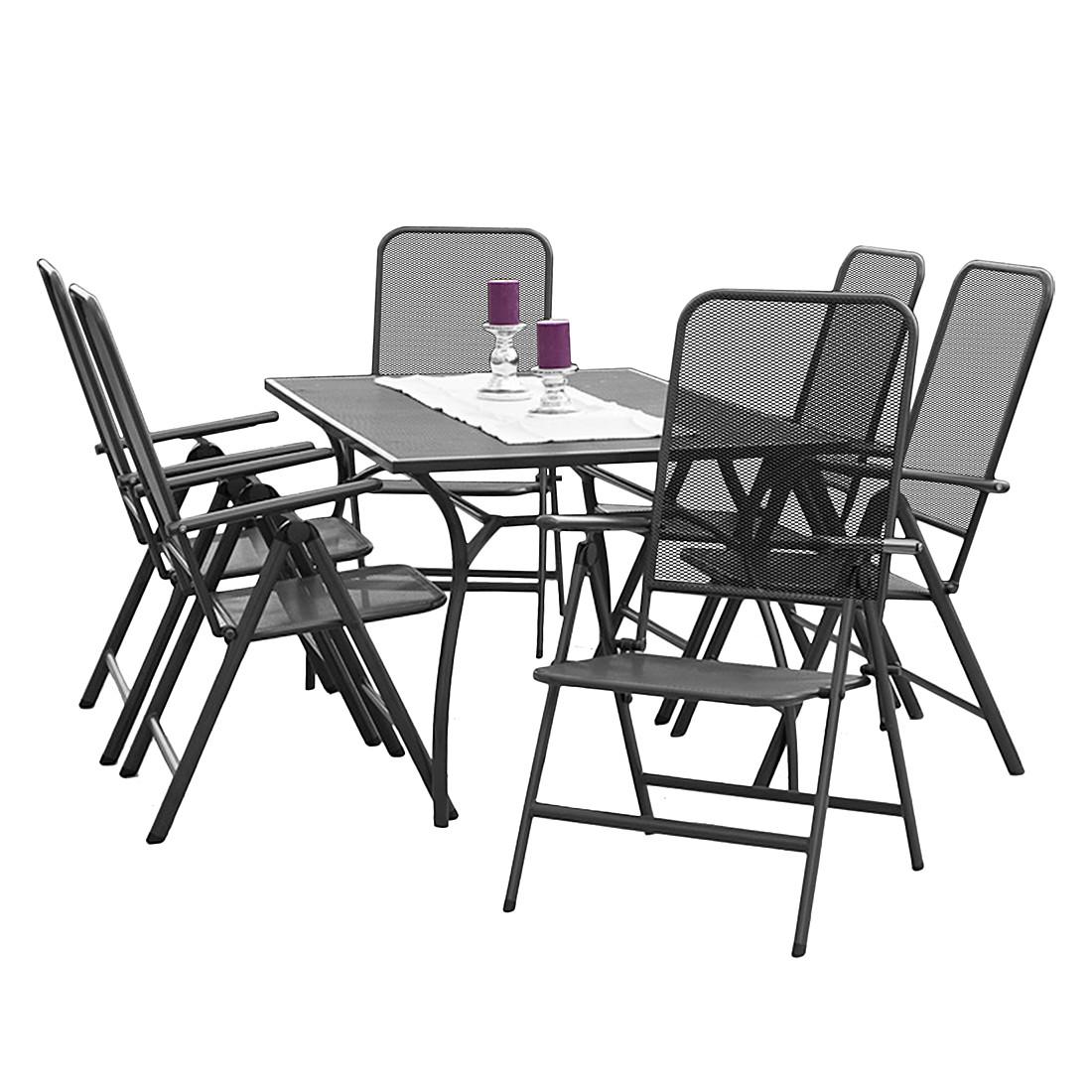 Gartensitzgruppe Paxos (7-teilig) - Stahl - Graphit, Merxx