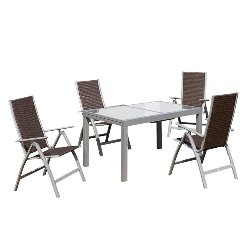gartensitzgruppe valenza ii 5 teilig aluminium silber polyrattan braun merxx g nstig. Black Bedroom Furniture Sets. Home Design Ideas