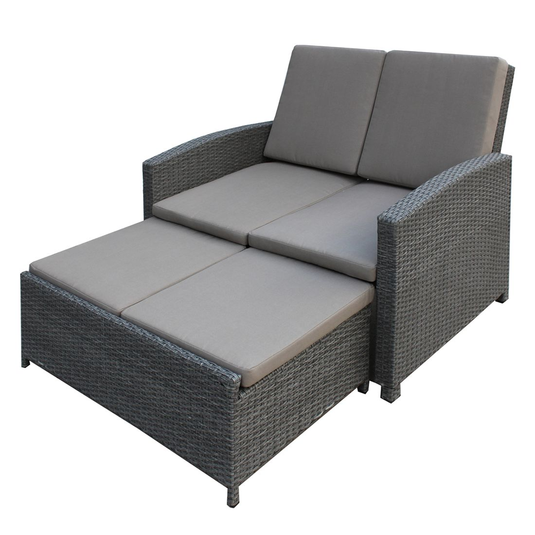 gartensofa villanova inkl hocker polyrattan grau textil grau ebay. Black Bedroom Furniture Sets. Home Design Ideas