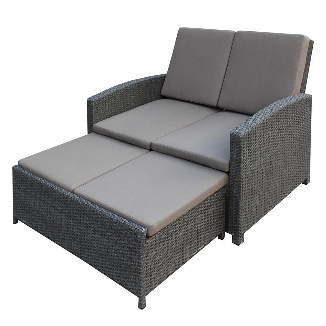 Gartensofa Villanova (inkl. Hocker) – Polyrattan Grau/Textil Grau, Garden Guerilla kaufen
