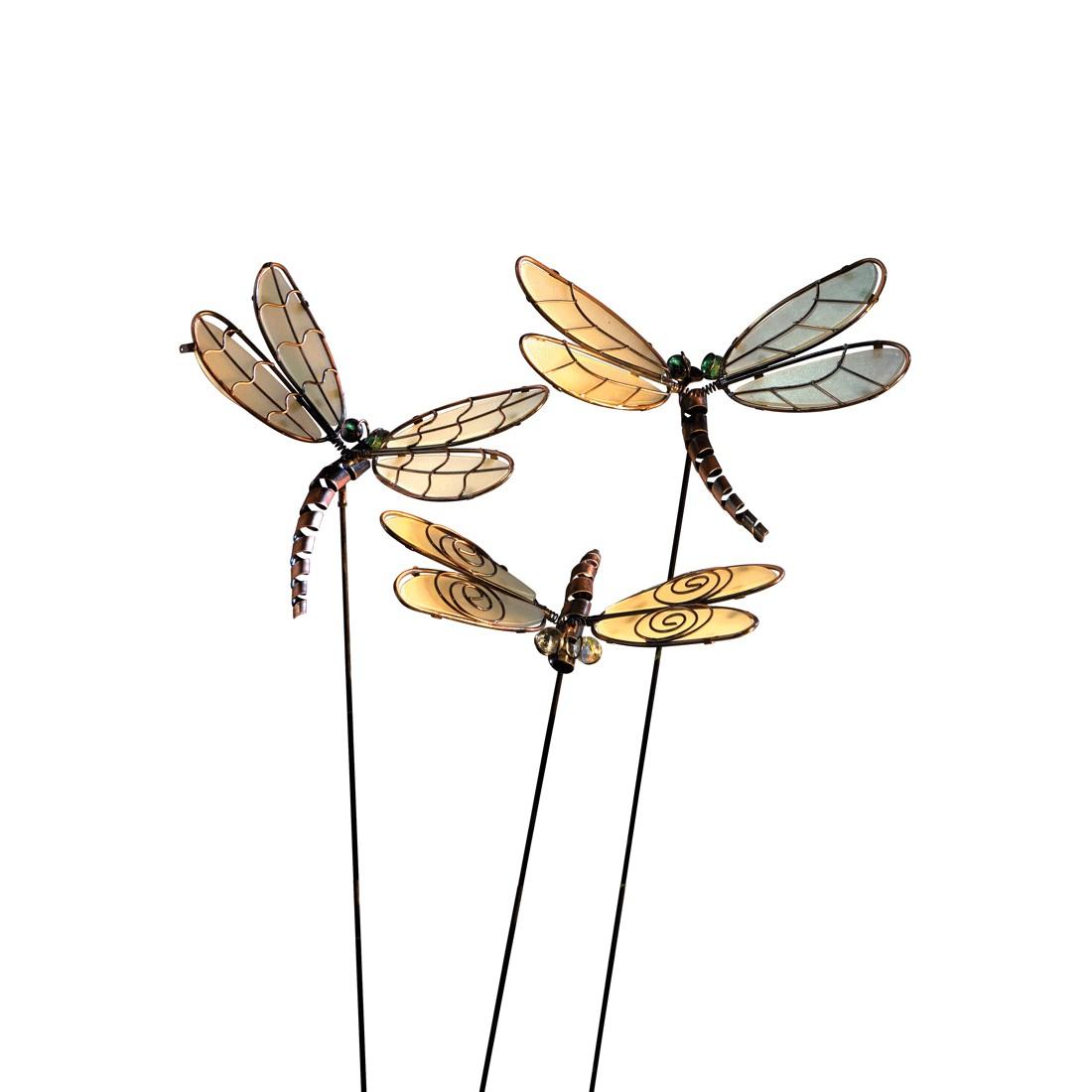 Gartenstecker Libellen 3-teilig – Metall – Braun, PureDay günstig bestellen
