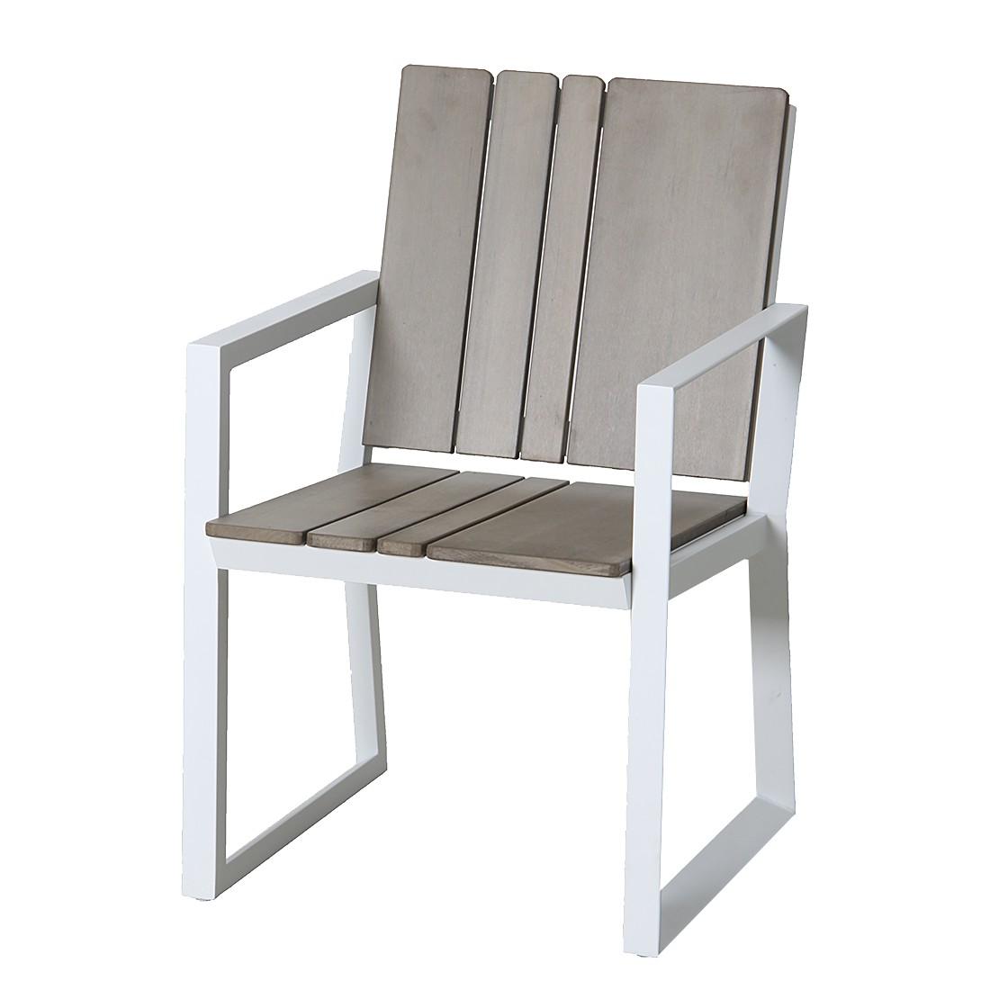 Gartenstuhl Escape (2er-Set) – Aluminium/Kunststoff – Weiß/Grau-Braun, Leco günstig