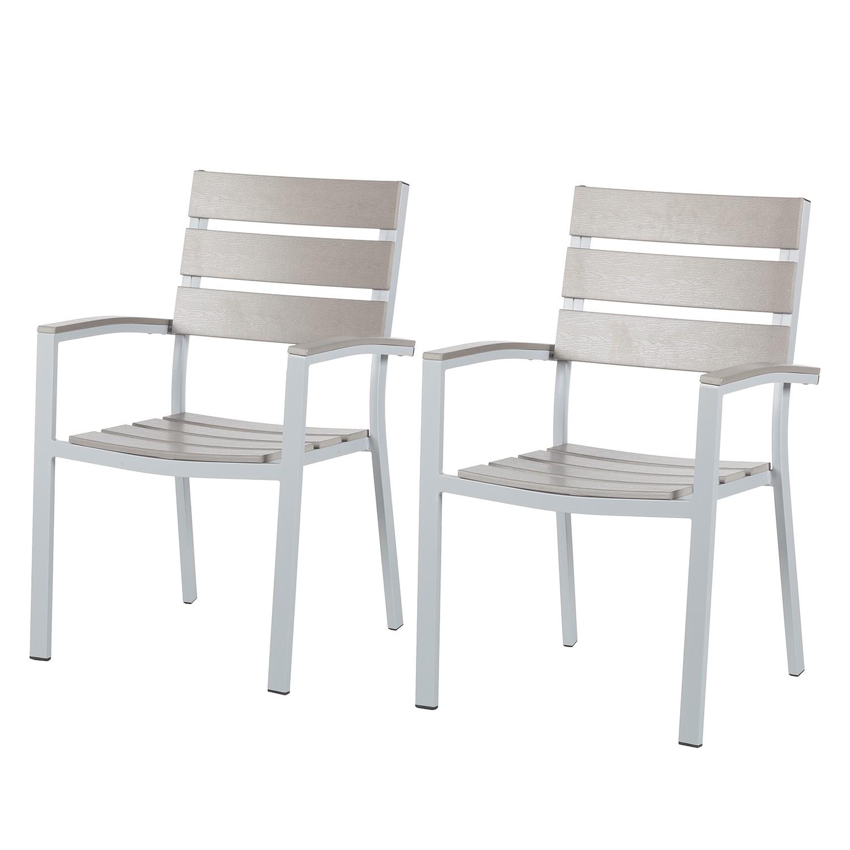 Gartenstuhl Montego (2er-Set) - Aluminium / Polywood - Hellgrau, Kings Garden