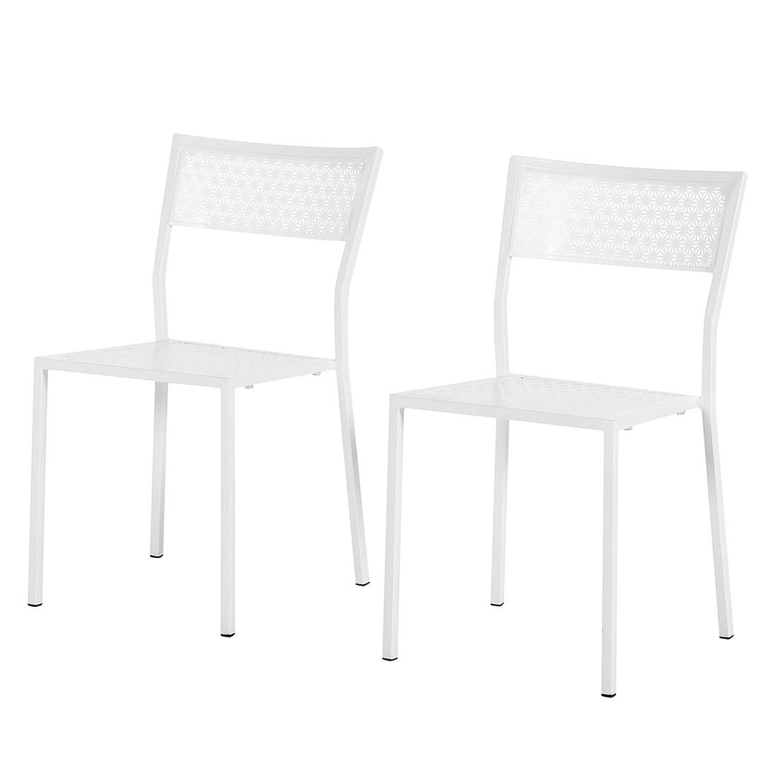 Gartenstuhl Pini (2er-Set) - Metall Weiß, Garden Guerilla