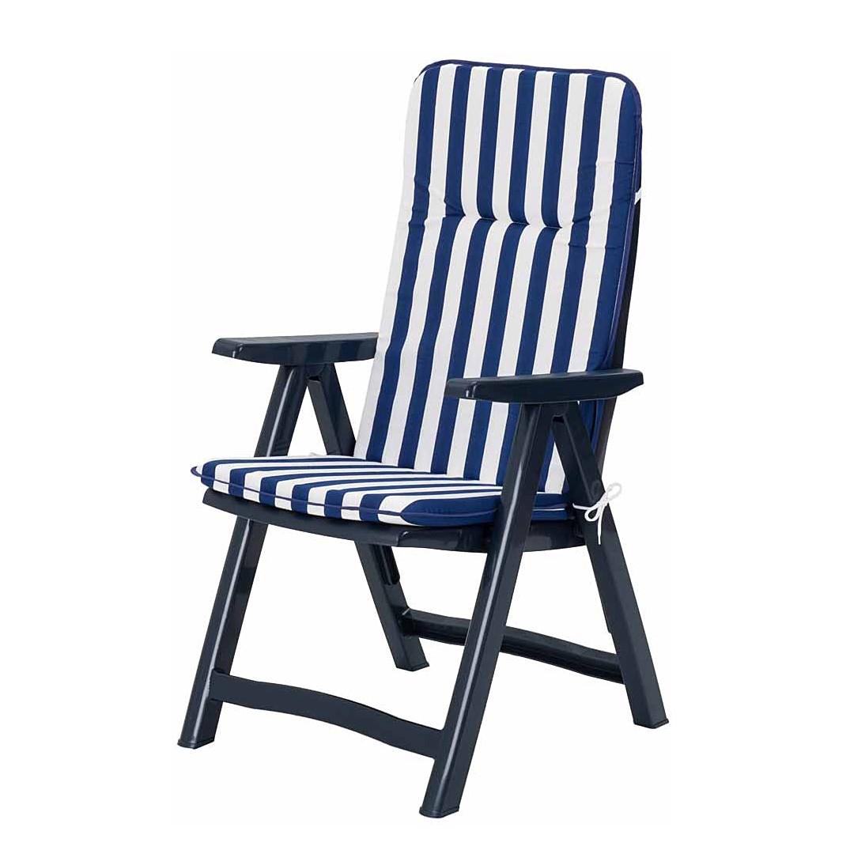 Gartenstuhl Santiago (klappbar, -inkl. Auflage) – Kunststoff/Textil – Blau/Blau-Weiß gestreift, Best Freizeitmöbel online kaufen