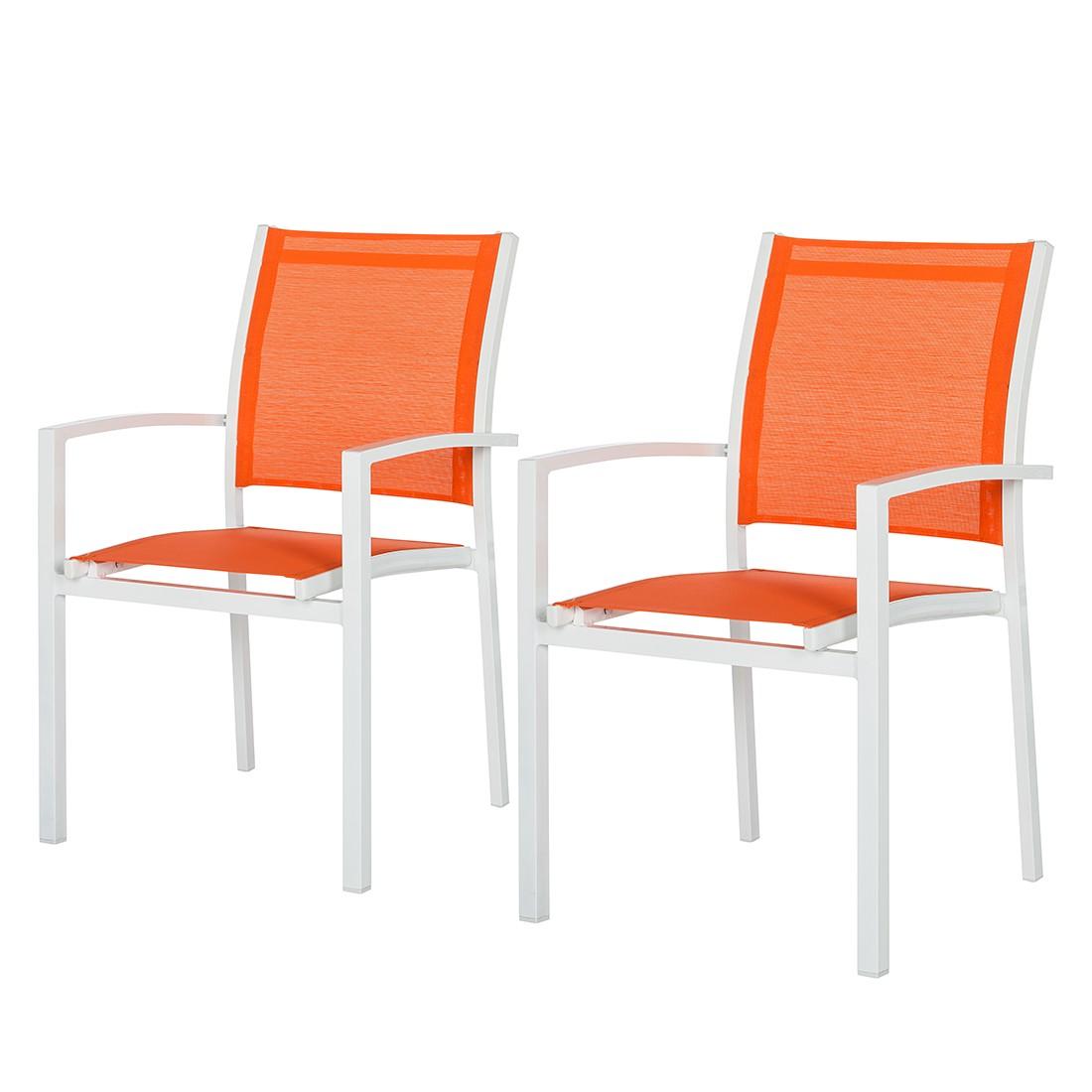 Gartenstuhl Sonny (2er-Set) - Aluminium/Textil Weiß/Orange, Garden Guerilla