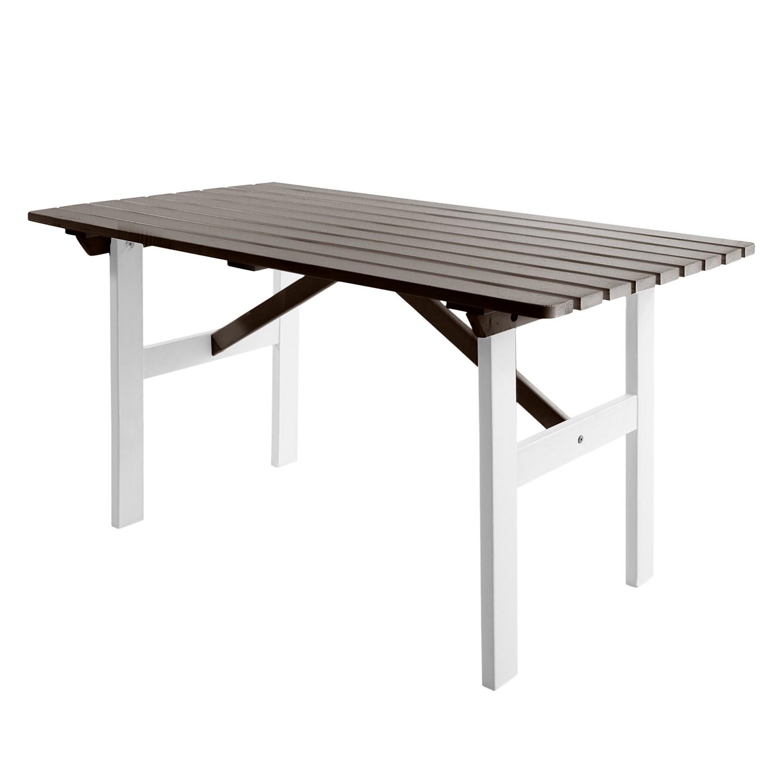 Gartentisch Hanko - Kiefer massiv - Weiß / Taupegrau, Gardenho.me