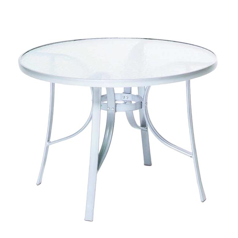 Gartentisch mit Glasplatte - Aluminium/Milchglas - Silber/Halbtransparent, Merxx
