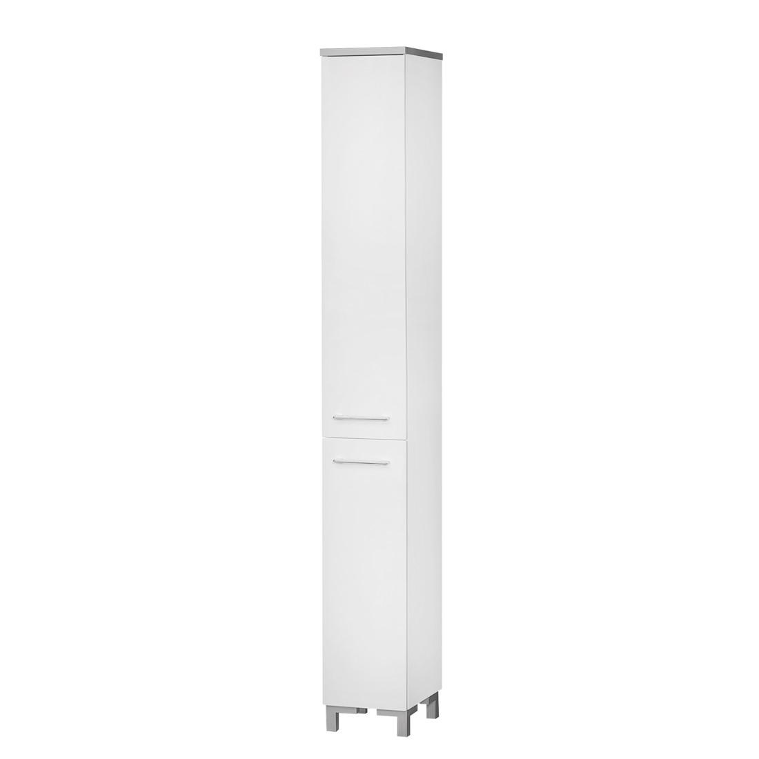 Hochschrank Gela - 2-türig - Weiß hochglanz/Weiß