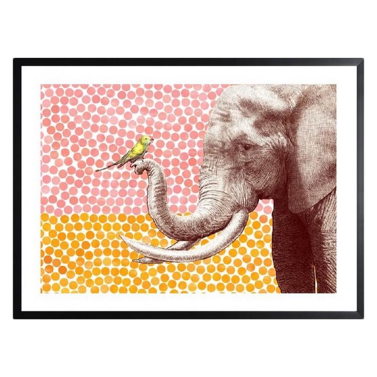 Gerahmtes Poster Elephant and Bird von Eric Fan – Größe: A2 (42 x 59 cm), Juniqe günstig kaufen
