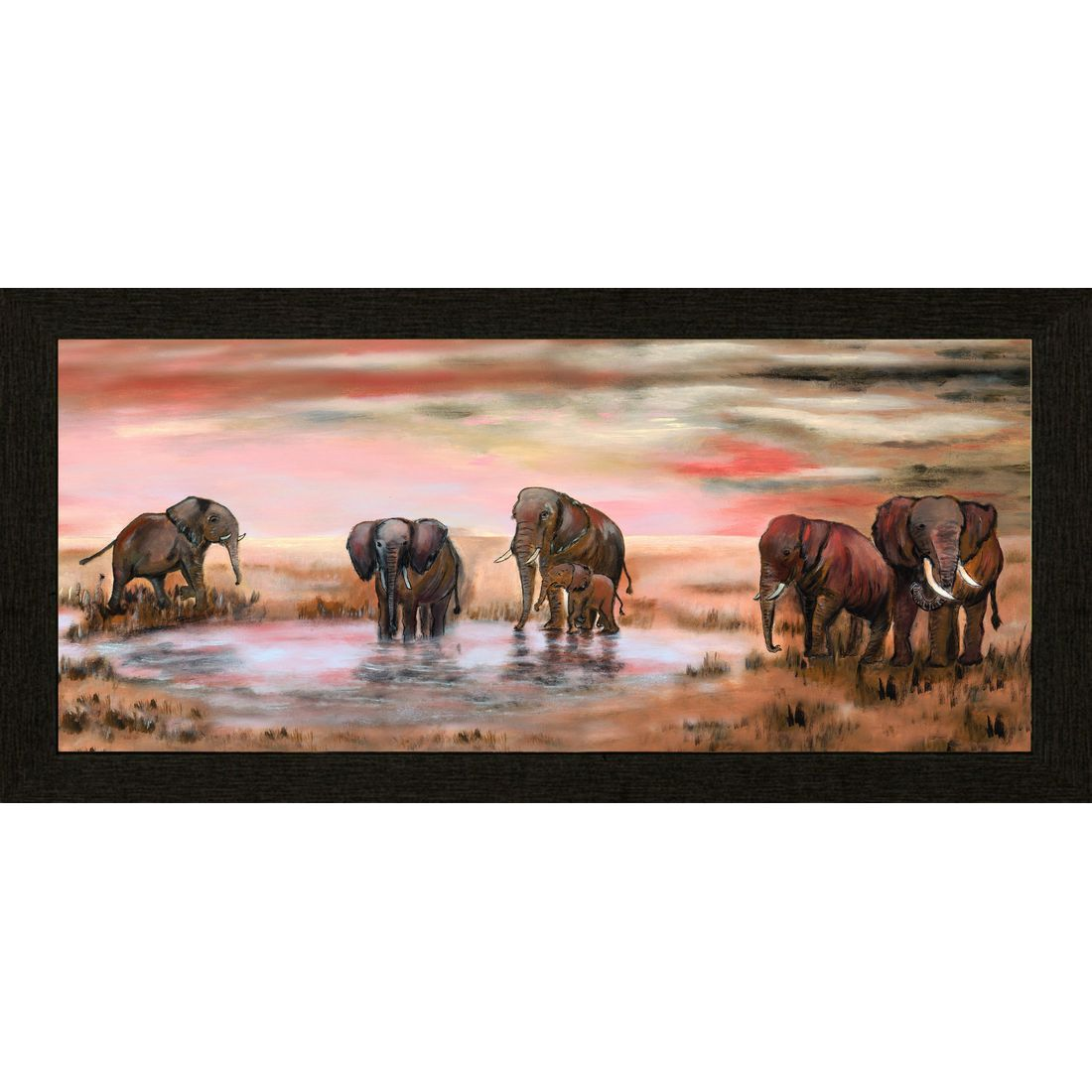 Gerahmtes Poster Elephant Family – Braun, Rosa, Bönninghoff online bestellen