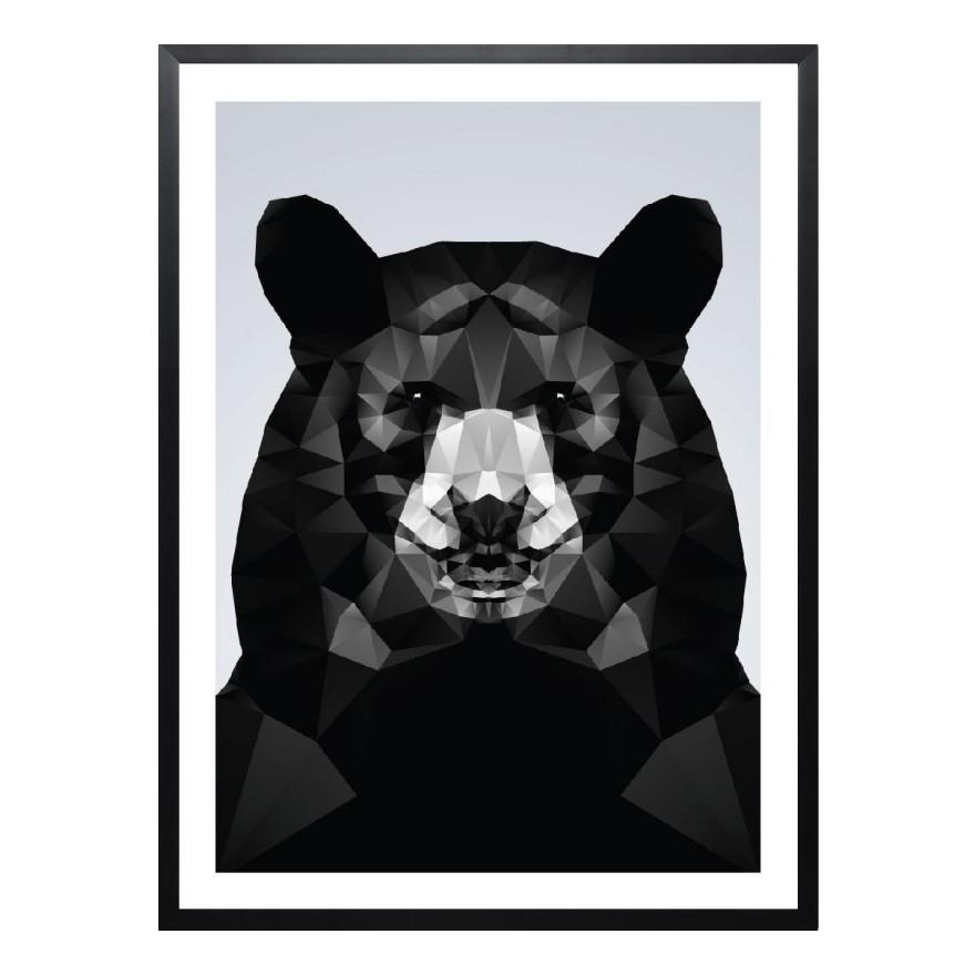 Gerahmtes Poster Geo Black Bear von Three Of The Possessed – Größe: A2 (59 x 42 cm), Juniqe günstig kaufen