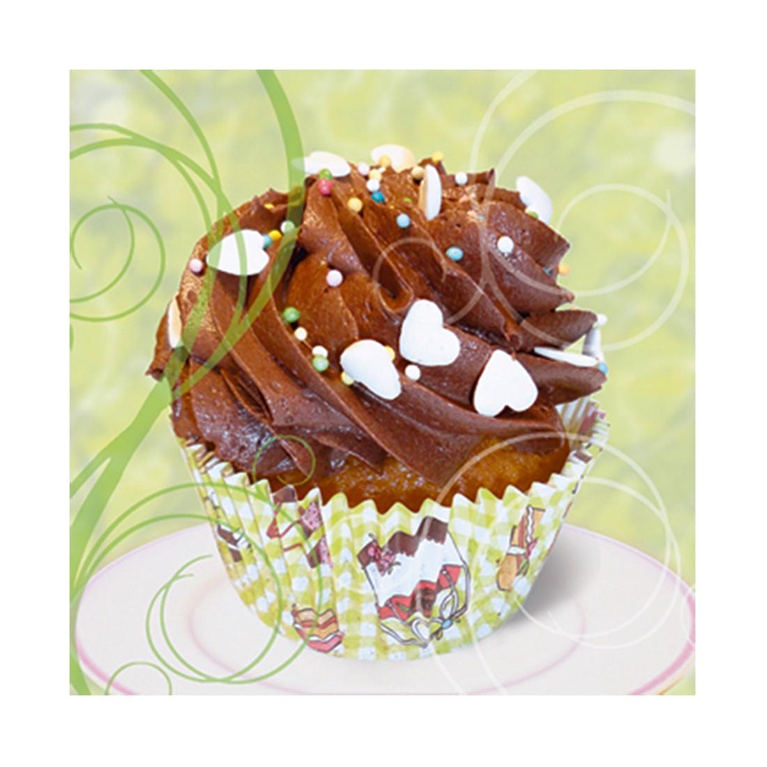 Glasbild Cupcake On Green - Größe: 50 x 50 cm, Artland