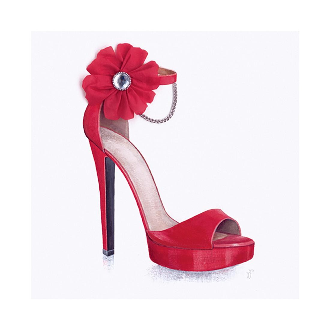 Glasbild Lady's slipper – Rot – Größe: 20 x 20 cm, Artland jetzt bestellen
