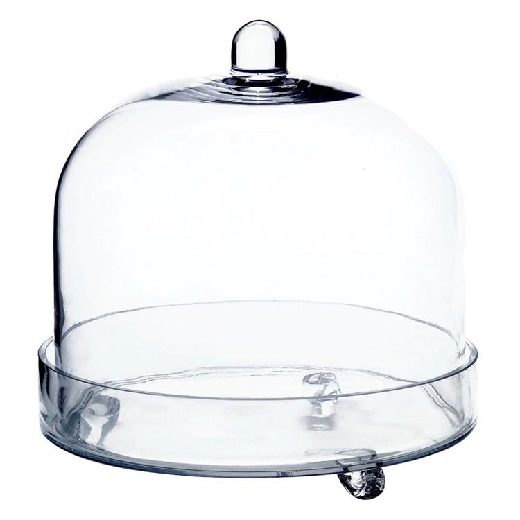 Glasglocke Amelie mit Schale 30 cm – Glas Transparent, Springlane jetzt kaufen