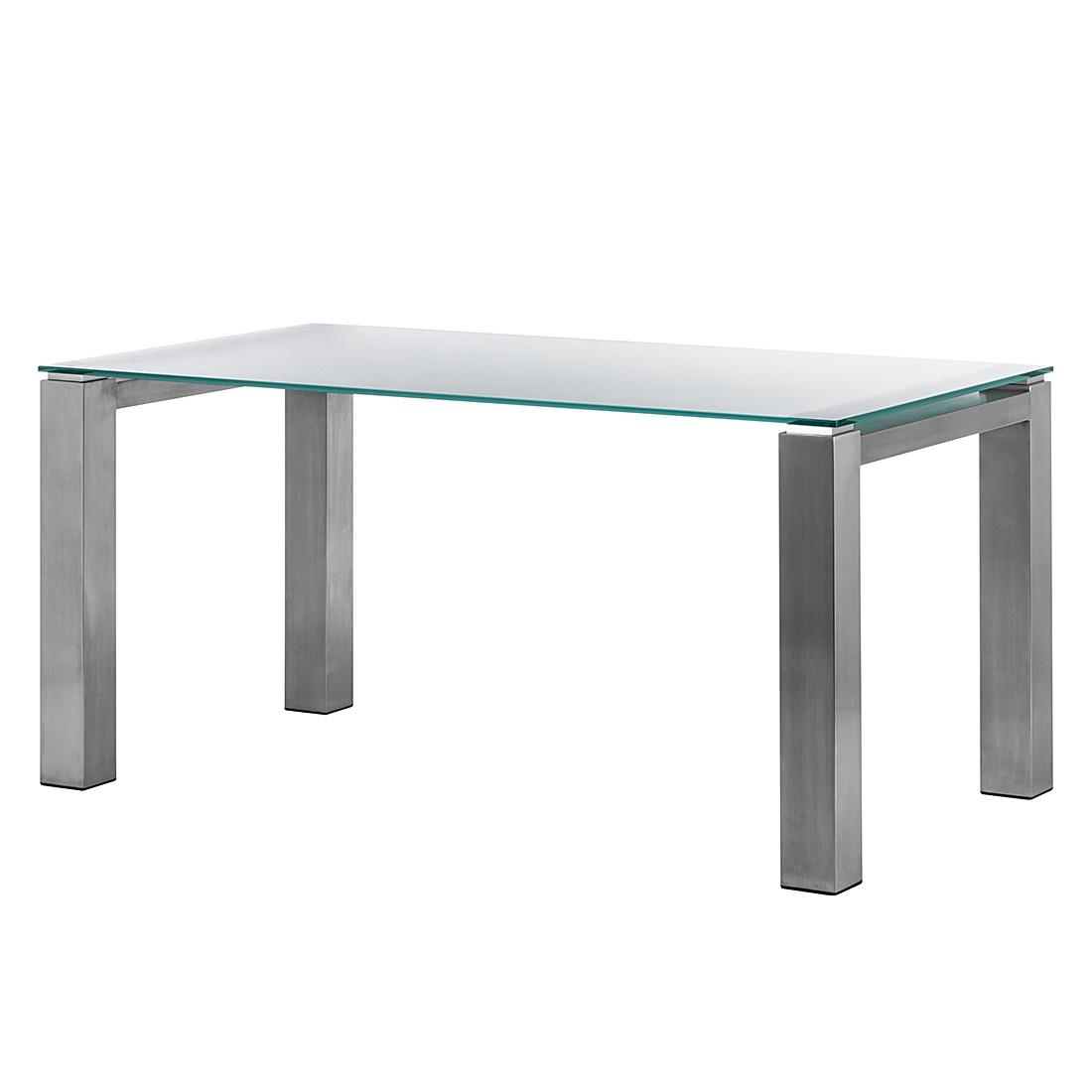 Glastisch Palma – Satiniertes Glas/Edelstahl, gebürstet – 90 x 90 cm, Niehoff günstig online kaufen