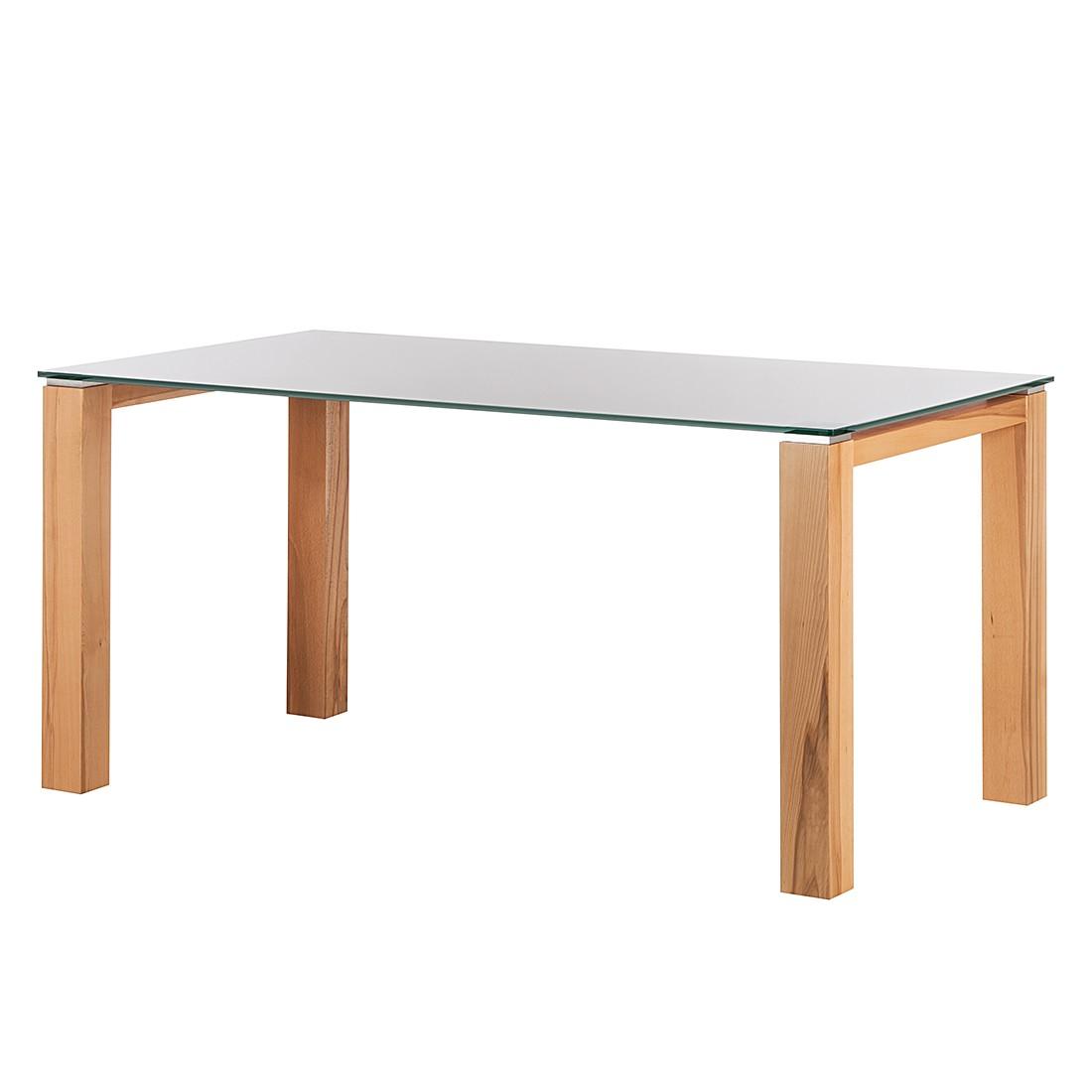 Glastisch Palma – Weiß lackiertes Glas/Kernbuche furniert – 160 x 90 cm, Niehoff kaufen