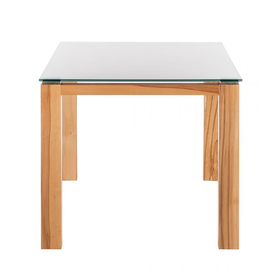 Glastisch Palma – Weiß lackiertes Glas/Kernbuche furniert – 90 x 90 cm, Niehoff günstig bestellen
