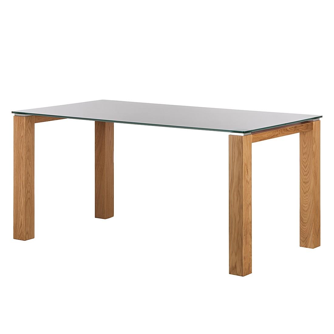 Glastisch Palma – Weiß lackiertes Glas/Wildeiche furniert – 200 x 100 cm, Niehoff günstig