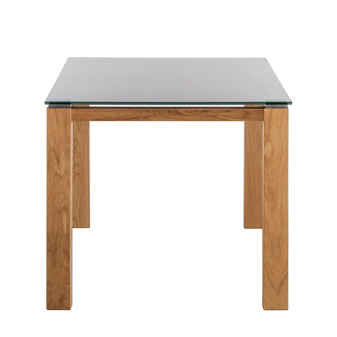 Glastisch Palma – Weiß lackiertes Glas/Wildeiche furniert – 90 x 90 cm, Niehoff online bestellen