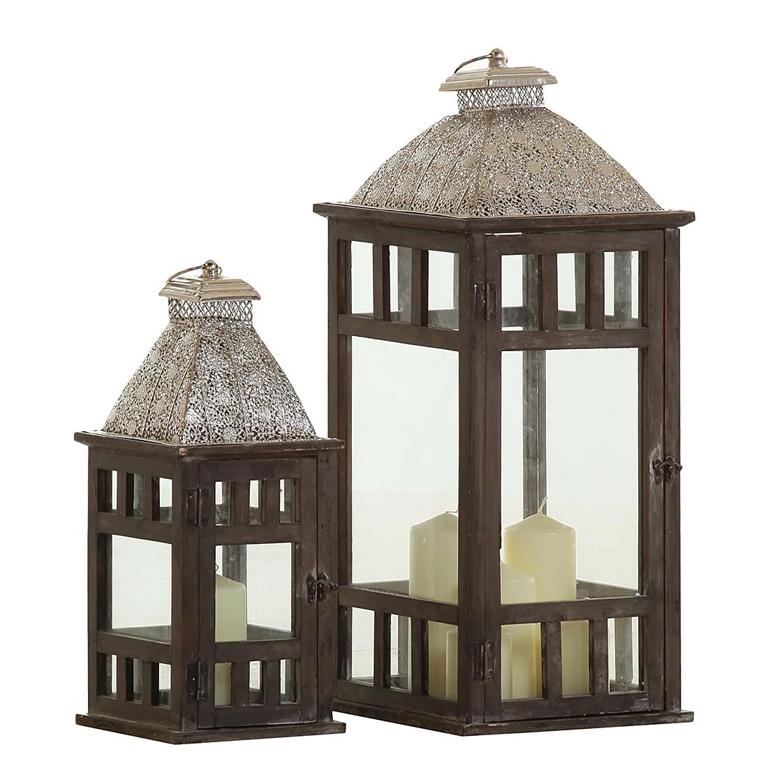 Laternen-Set Lampione IV (2-teilig) – Tanne teilmassiv – Braun, Maison Belfort online bestellen