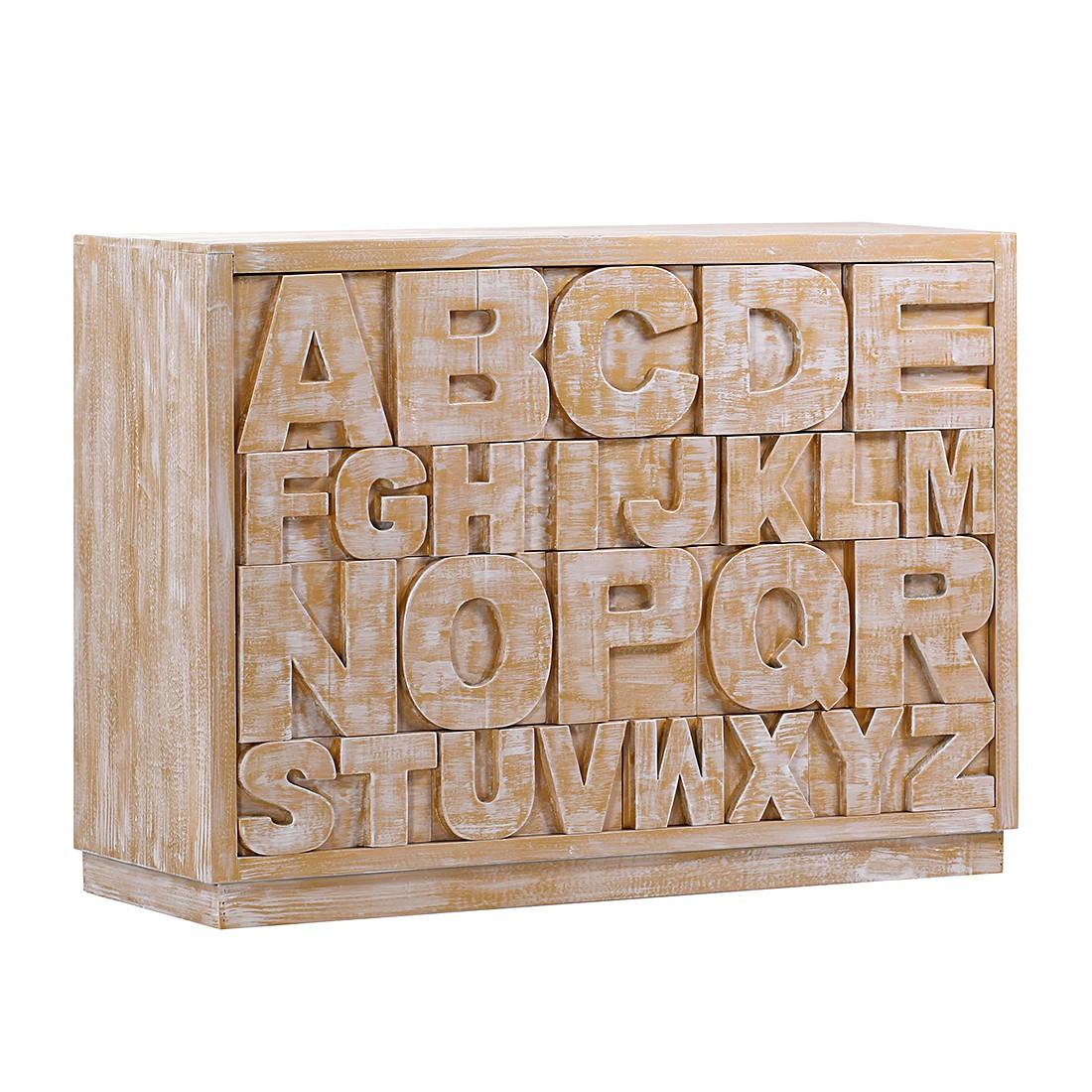 Sideboard Letters III – Tanne teilmassiv – Gold/Weiß, Jack & Alice günstig online kaufen