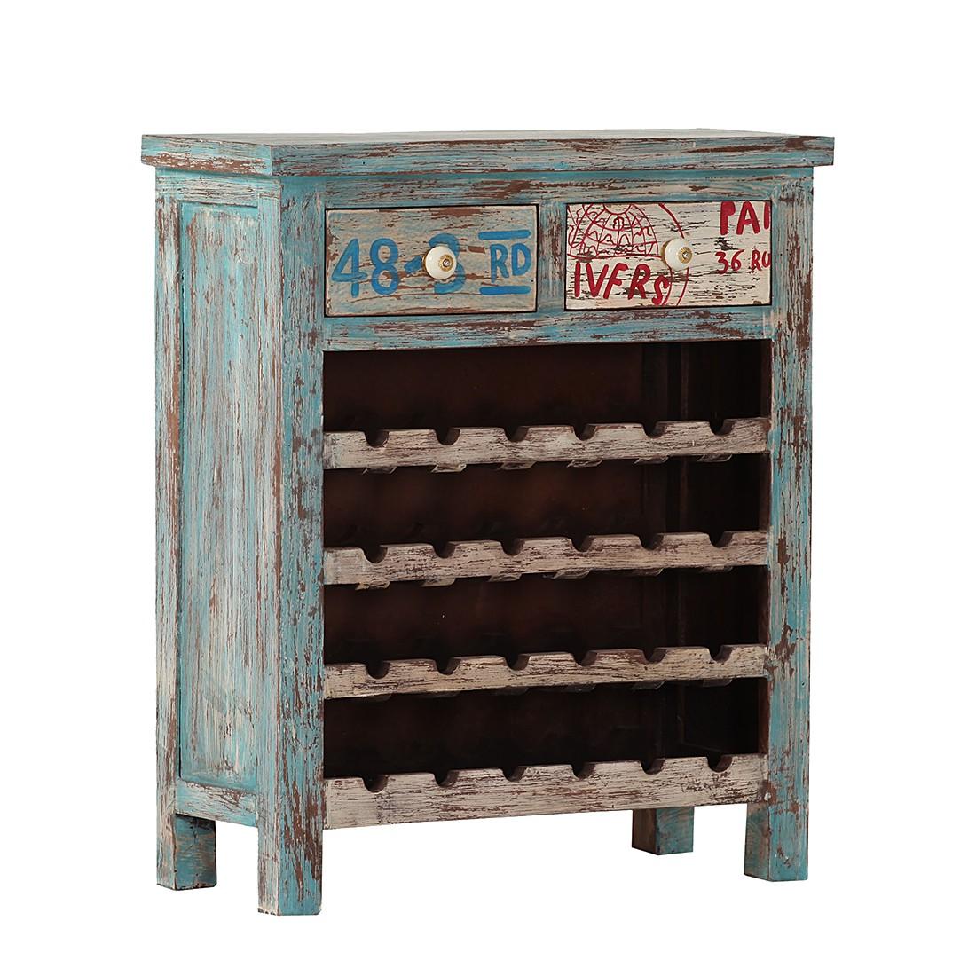 Weinregal Purcell – Mango massiv – Vintage Blau, Jack & Alice kaufen